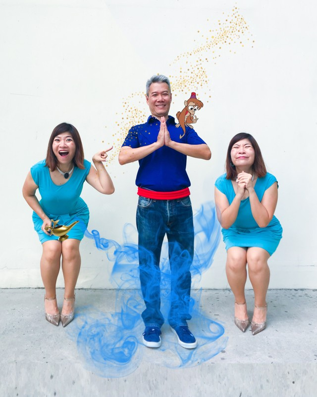 DIY Halloween Couple Costumes - Aladdin's Genie and two Jasmines