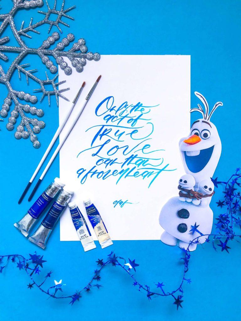 PositiveLeePeilin- DIY Frozen Calligraphy Olaf