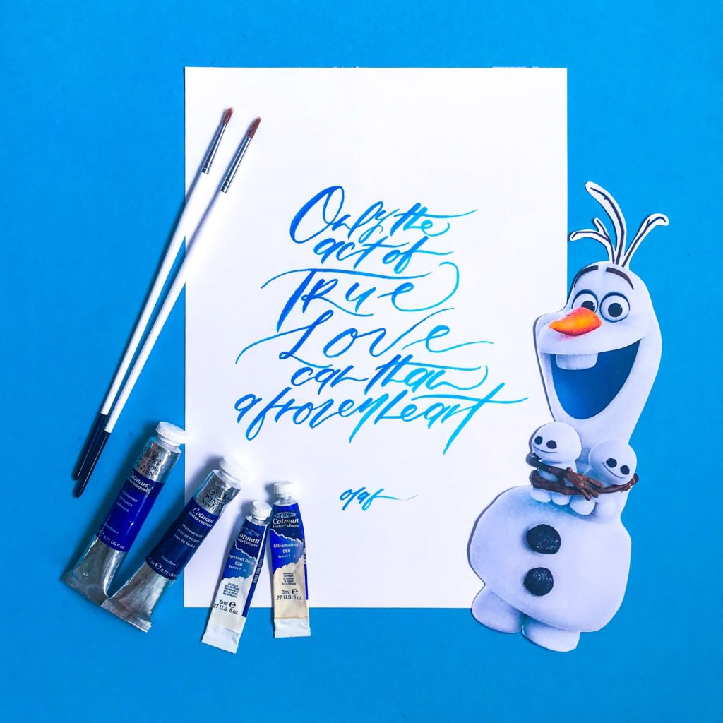 Frozen Calligraphy: Trace Your Movie Quote
