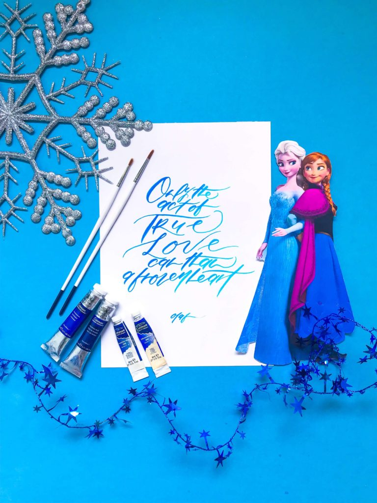 PositiveLeePeilin- DIY Kids Crafts Frozen Calligraphy Elsa Anna