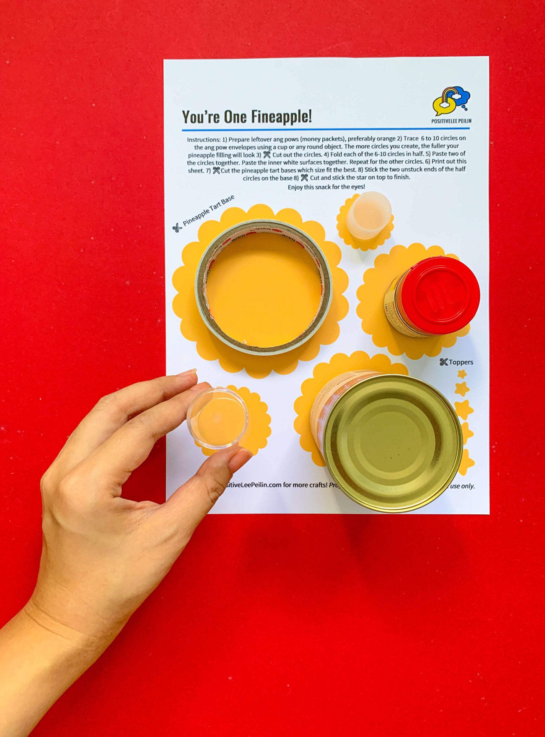 Pineapple Tart CNY DIY Craft - Printable and Circle Items