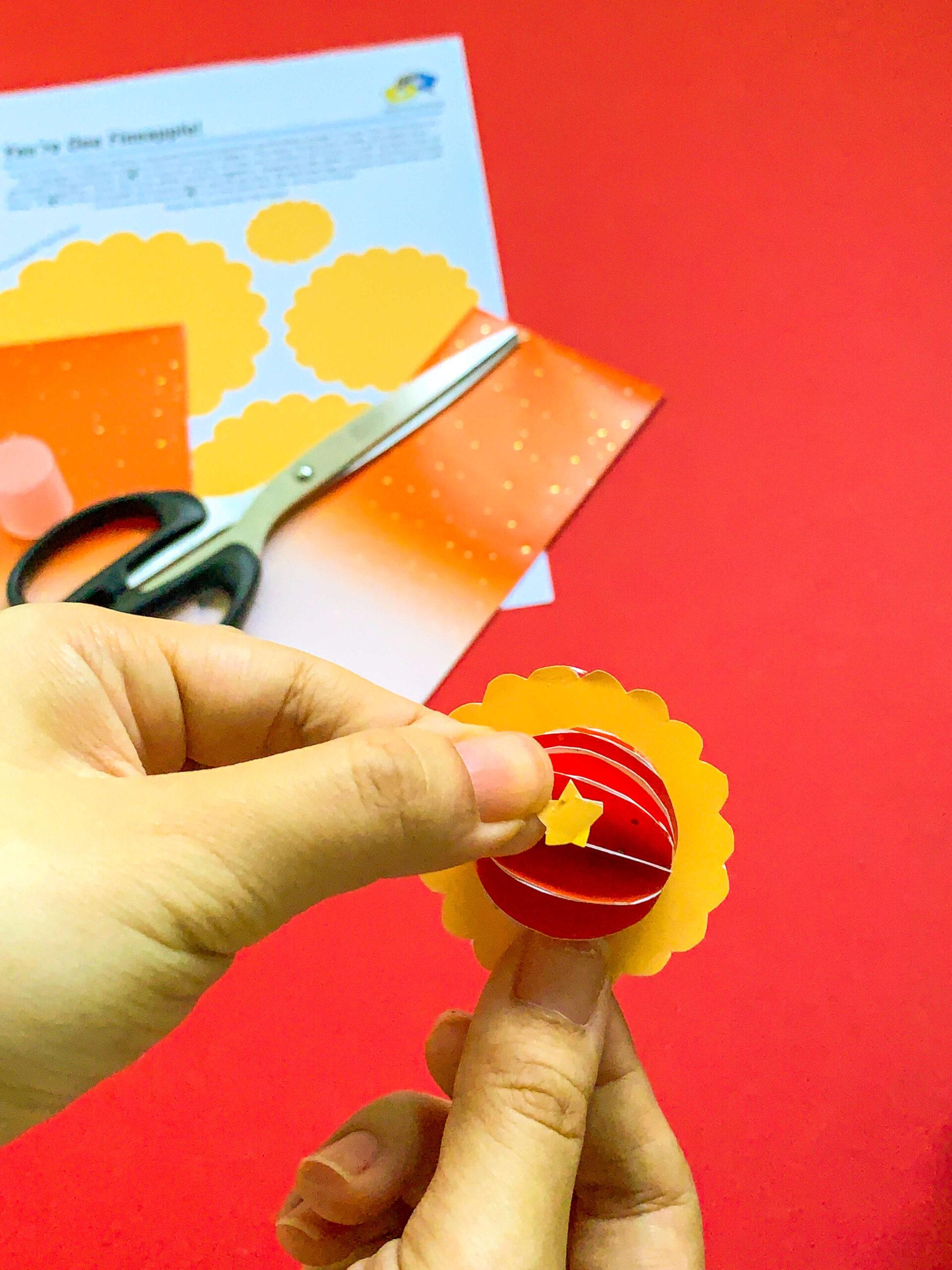 Pineapple Tart CNY DIY Craft - Sticking Paper Topping